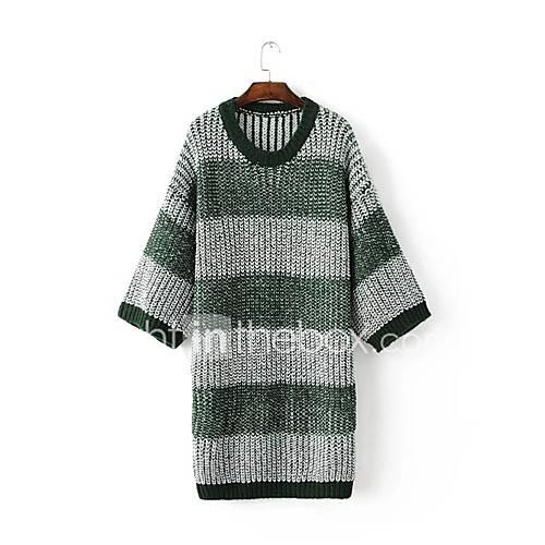 dames-uitgaan-casual-dagelijks-eenvoudig-street-chic-lang-pullover-kleurenblok-groen-ronde-hals-lange-mouw-katoen-lente-medium