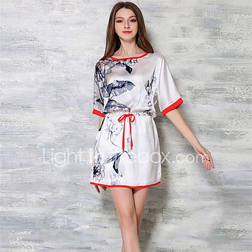 dames-casual-dagelijks-eenvoudig-schede-jurk-print-ronde-hals-boven-de-knie-halflange-mouw-polyester-zomer-medium-taille-inelastisch-dun