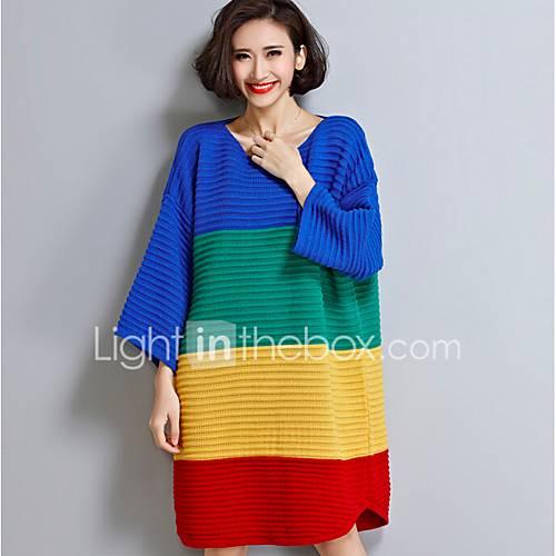 dames-casual-dagelijks-eenvoudig-lang-pullover-regenboog-ronde-hals-lange-mouw-katoen-lente-herfst-medium-micro-elastisch