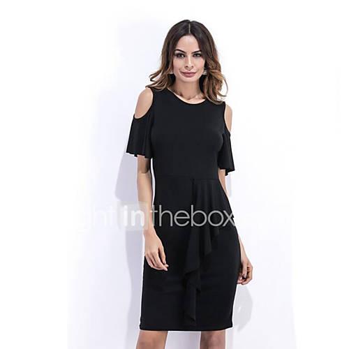 dames-casual-dagelijks-street-chic-schede-jurk-effen-schouderafhangend-boven-de-knie-korte-mouw-zwart-katoen-zomer-medium-taille