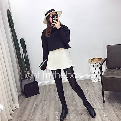 dames-sexy-eenvoudig-street-chic-lente-herfst-t-shirt-uitgaan-casual-dagelijks-kleurenblok-opstaand-lange-mouw-zwart-grijs-zijde-katoen