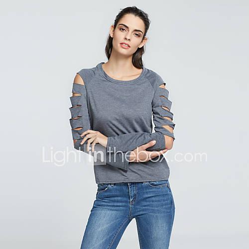 vrouwen-eenvoudig-street-chic-lente-herfst-t-shirt-casual-dagelijks-effen-ronde-hals-lange-mouw-grijs-polyester-medium