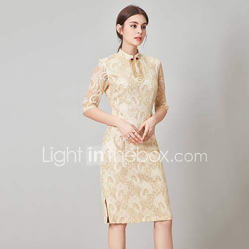 dames-casual-dagelijks-eenvoudig-schede-jurk-effen-overhemdkraag-midi-driekwart-mouw-geel-polyester-lente-zomer-medium-taille-inelastisch