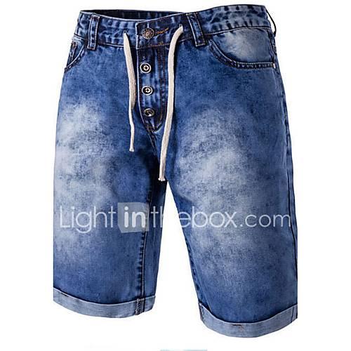 heren-slank-shorts-jeans-broek-kleurenblok-strand-casual-dagelijks-eenvoudig-medium-taille-knoop-rits-polyester-katoen-micro-elastisch