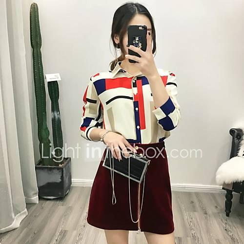 dames-eenvoudig-street-chic-lente-herfst-blouse-uitgaan-casual-dagelijks-kleurenblok-overhemdkraag-lange-mouw-wit-zwart-katoen-medium