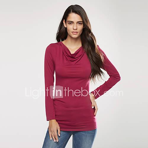 vrouwen-street-chic-lente-herfst-t-shirt-casual-dagelijks-effen-wijde-col-lange-mouw-rood-polyester-medium