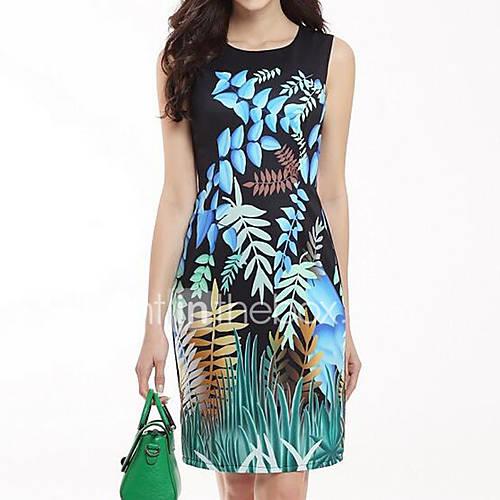 dames-casual-dagelijks-eenvoudig-schede-jurk-bloemen-ronde-hals-boven-de-knie-mouwloos-zwart-polyester-zomer-medium-taille-inelastisch