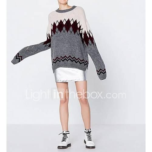 dames-uitgaan-casual-dagelijks-eenvoudig-street-chic-normaal-pullover-kleurenblok-grijs-ronde-hals-lange-mouw-wol-lente-medium