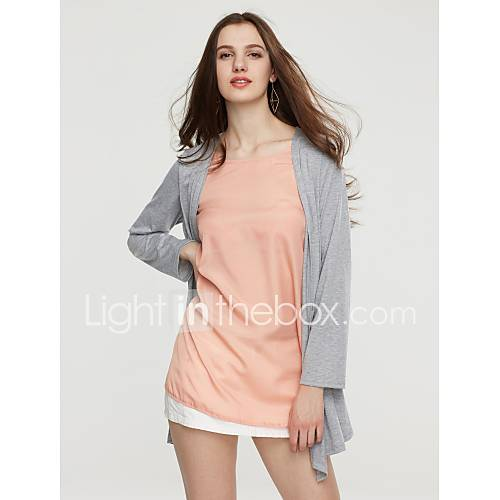 vrouwen-eenvoudig-herfst-blouse-casual-dagelijks-patchwork-ronde-hals-bandje-lange-mouw-blauw-oranje-katoen-polyester-medium