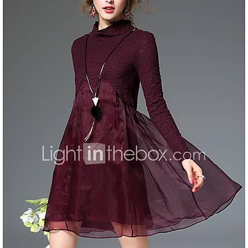 dames-uitgaan-street-chic-ruimvallend-jurk-effen-ronde-hals-maxi-lange-mouw-katoen-herfst-medium-taille-micro-elastisch-medium