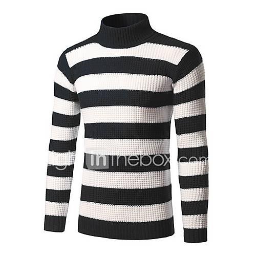 heren-casual-dagelijks-eenvoudig-lang-pullover-gestreept-blauw-rood-zwart-coltrui-lange-mouw-katoen-winter-medium-micro-elastisch