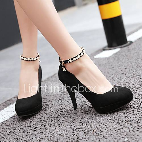 Women's Shoes Leatherette PU Spring Summer Comfort Novelty Heels Walking Shoes Stiletto Heel Round Toe Buckle for Wedding Casual Party
