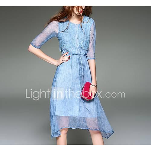 dames-uitgaan-street-chic-wijd-uitlopend-jurk-effen-ronde-hals-tot-de-knie-driekwart-mouw-polyester-lente-medium-taille-micro-elastisch