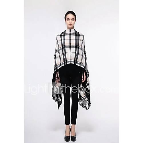 dames-uitgaan-casual-dagelijks-eenvoudig-street-chic-normaal-cloak-capes-ruitjes-ronde-hals-mouwloos-wol-lente-medium-micro-elastisch
