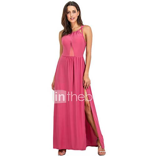 dames-uitgaan-club-sexy-wijd-uitlopend-jurk-effen-ronde-hals-maxi-mouwloos-polyester-zomer-medium-taille-micro-elastisch-medium