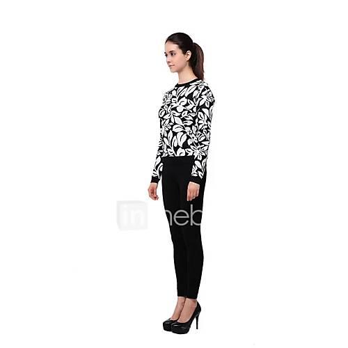 dames-uitgaan-casual-dagelijks-eenvoudig-street-chic-normaal-pullover-print-ronde-hals-lange-mouw-wol-lente-medium-micro-elastisch