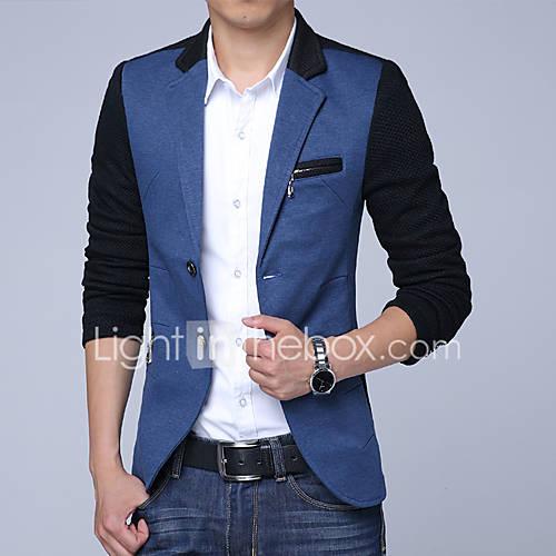 heren-vintage-eenvoudig-lente-herfst-blazer-uitgaan-casual-dagelijks-werk-kleurenblok-overhemdkraag-lange-mouw-normaal-katoen-polyester