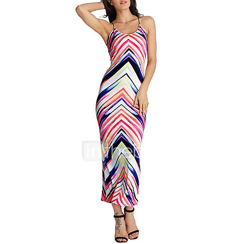 dames-uitgaan-vakantie-sexy-street-chic-schede-jurk-patchwork-bandje-maxi-mouwloos-rood-polyester-zomer-medium-taille-micro-elastisch