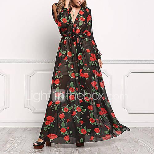 dames-uitgaan-casual-dagelijks-nette-schoenen-vintage-eenvoudig-street-chic-ruimvallend-wijd-uitlopend-jurk-bloemen-diepe-v-hals-maxi