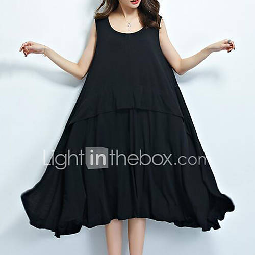 dames-casual-dagelijks-eenvoudig-wijd-uitlopend-jurk-effen-bandje-tot-de-knie-mouwloos-zwart-katoen-zomer-medium-taille-micro-elastisch