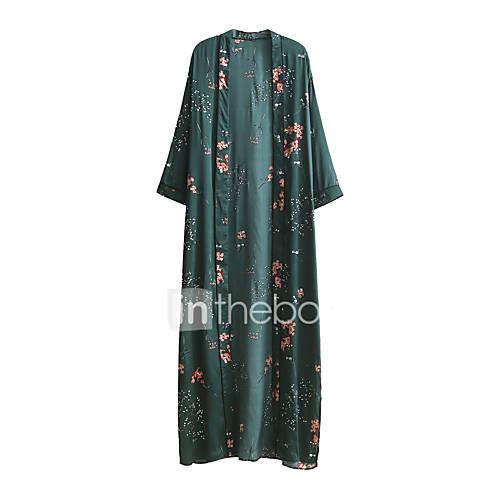 dames-uitgaan-casual-dagelijks-eenvoudig-street-chic-ruimvallend-wijd-uitlopend-overhemd-jurk-effen-bloemen-v-hals-maxi-midi-lange-mouw