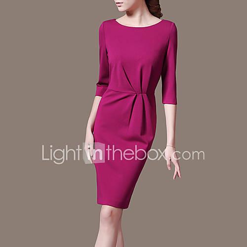 dames-uitgaan-werk-eenvoudig-a-lijn-jurk-effen-ronde-hals-tot-de-knie-driekwart-mouw-polyester-zomer-herfst-medium-taille-micro-elastisch