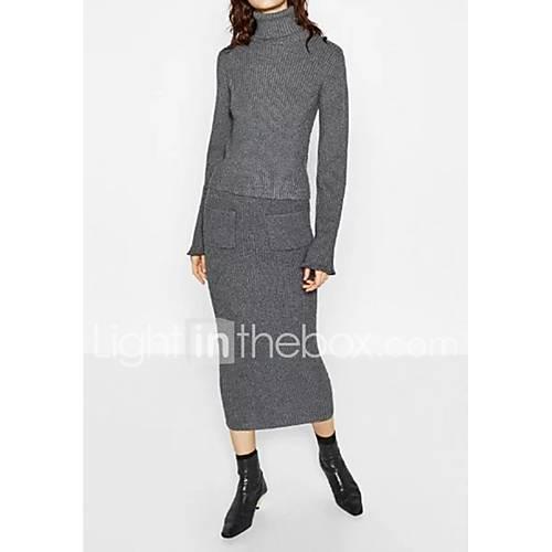 dames-uitgaan-casual-dagelijks-eenvoudig-street-chic-normaal-pullover-effen-strakke-ronde-hals-lange-mouw-wol-lente-medium-micro-elastisch