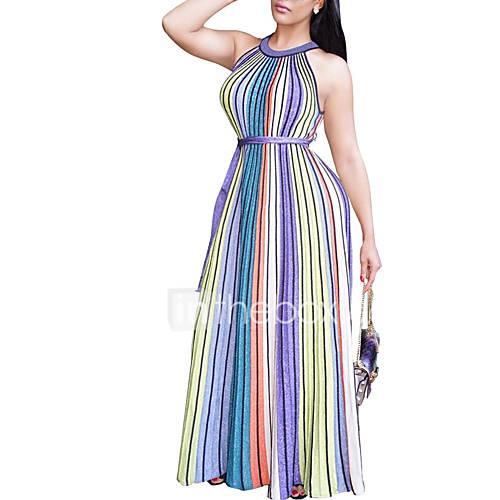 dames-uitgaan-vakantie-eenvoudig-street-chic-schede-wijd-uitlopend-jurk-gestreept-kleurenblok-ronde-hals-maxi-mouwloos-polyester-zomer