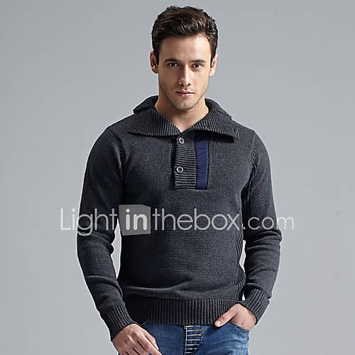 heren-casual-dagelijks-eenvoudig-boho-normaal-pullover-effen-overhemdkraag-lange-mouw-wol-acryl-polyester-herfst-winter-medium