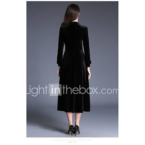 dames-uitgaan-nette-schoenen-street-chic-wijd-uitlopend-jurk-effen-ronde-hals-midi-lange-mouw-polyester-lente-zomer-medium-taille