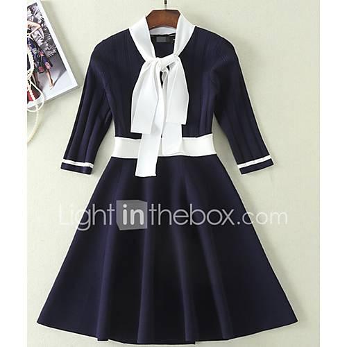 dames-casual-dagelijks-eenvoudig-a-lijn-jurk-kleurenblok-v-hals-tot-de-knie-halflange-mouw-overige-lente-medium-taille-micro-elastisch