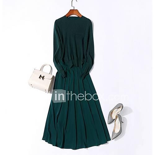 dames-uitgaan-wijd-uitlopend-jurk-effen-ronde-hals-midi-lange-mouw-polyester-herfst-winter-hoge-taille-micro-elastisch-medium