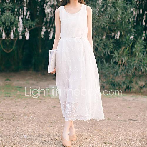 dames-uitgaan-casual-dagelijks-eenvoudig-schede-jurk-effen-ronde-hals-maxi-mouwloos-katoen-rayon-zomer-medium-taille-inelastisch-medium