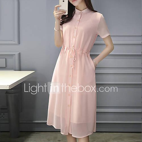 dames-uitgaan-casual-dagelijks-eenvoudig-overhemd-jurk-effen-opstaand-tot-de-knie-korte-mouw-katoen-polyester-alle-seizoenen-medium-taille