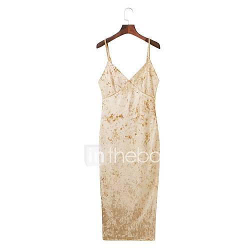 dames-uitgaan-feestjecocktail-bodycon-jurk-effen-bandje-midi-mouwloos-nylon-lente-herfst-medium-taille-micro-elastisch-medium