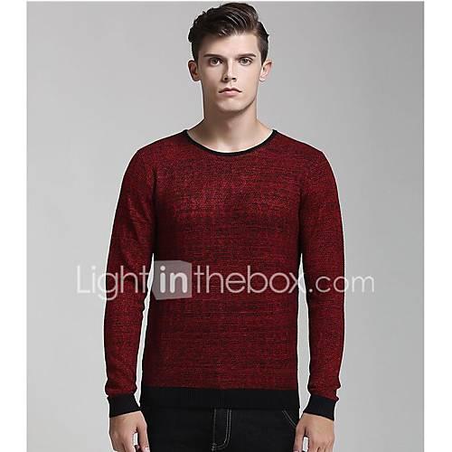 heren-casual-dagelijks-normaal-pullover-effen-ronde-hals-lange-mouw-nylon-herfst-winter-medium-micro-elastisch