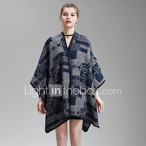 dames-uitgaan-casual-dagelijks-nette-schoenen-vintage-eenvoudig-chinoiserie-lang-pullover-gestreept-assymmetrisch-mouwloos-polyester