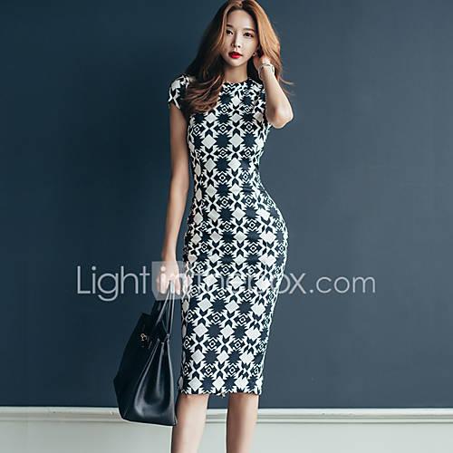 imagem-nova-coreano-fino-ol-temperamento-simples-pacote-de-hip-2017-verao-impressao-vestido-longa-secao