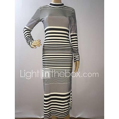 dames-casual-dagelijks-bodycon-jurk-gestreept-strakke-ronde-hals-maxi-lange-mouw-overige-lente-zomer-medium-taille-micro-elastisch-medium