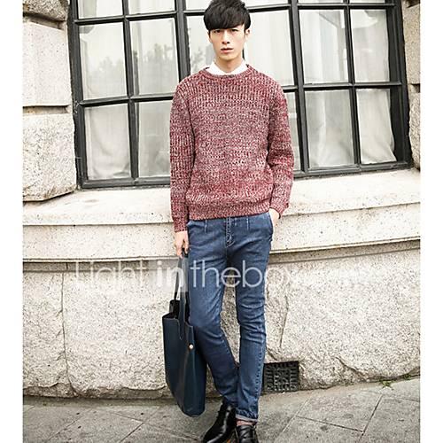 heren-uitgaan-casual-dagelijks-eenvoudig-normaal-pullover-effen-ronde-hals-lange-mouw-katoen-herfst-winter-medium-micro-elastisch