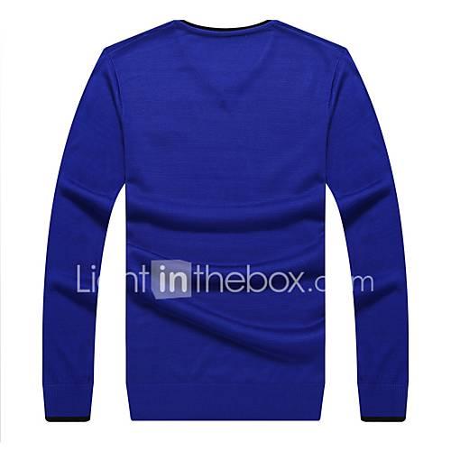 heren-casual-dagelijks-eenvoudig-normaal-pullover-effen-v-hals-lange-mouw-acryl-lente-herfst-medium-micro-elastisch