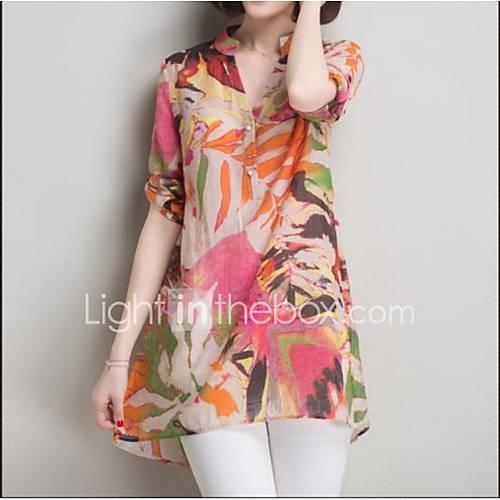 Versión coreana de la nueva sección larga salvaje verano de la camisa suelta de algodón de impresión de tocar fondo camisa femenina