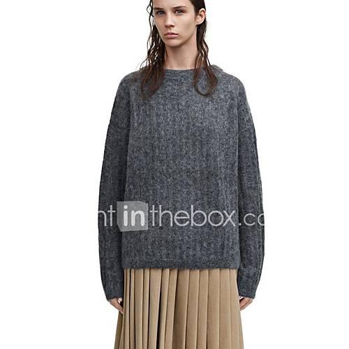 dames-casual-dagelijks-vintage-eenvoudig-normaal-pullover-effen-ronde-hals-lange-mouw-wol-lente-herfst-medium-micro-elastisch