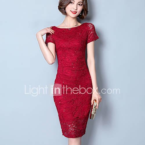 dames-uitgaan-eenvoudig-bodycon-jurk-effen-boothals-boven-de-knie-korte-mouw-polyester-zomer-herfst-medium-taille-micro-elastisch-medium
