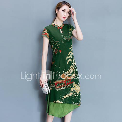 feminino-reto-vestido-para-noite-tematica-asiatica-estampado-colarinho-chines-altura-dos-joelhos-manga-curta-poliester-verao