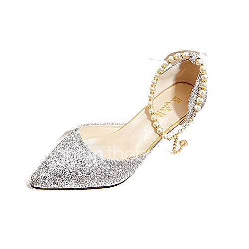 Women's Shoes PU(Polyurethane) Spring / Summer Comfort Heels Stiletto Heel Pointed Toe Imitation Pearl Gold / Black / Silver / Dress