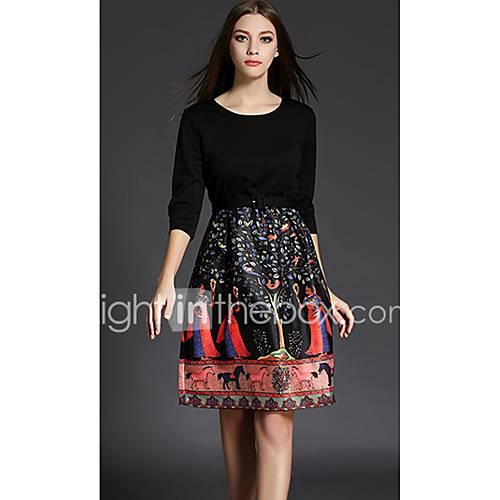 dames-uitgaan-casual-dagelijks-a-lijn-jurk-dierenprint-ronde-hals-tot-de-knie-driekwart-mouw-overige-lente-herfst-medium-taille