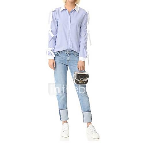 dames-sexy-eenvoudig-street-chic-lente-herfst-overhemd-uitgaan-casual-dagelijks-effen-gestreept-kleurenblok-overhemdkraag-lange-mouw