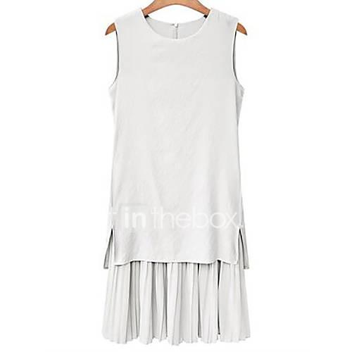 dames-casual-dagelijks-grote-maten-eenvoudig-schede-jurk-effen-ronde-hals-tot-de-knie-mouwloos-katoen-zomer-medium-taille-inelastisch