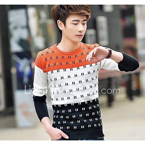 heren-uitgaan-casual-dagelijks-eenvoudig-normaal-pullover-kleurenblok-ronde-hals-lange-mouw-wol-alle-seizoenen-medium-micro-elastisch
